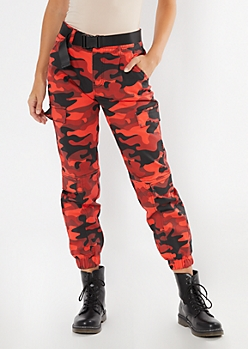 Red Camo Print Belted Cargo Joggers