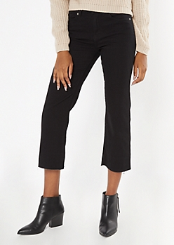 Black Kick Flare Cropped Pants