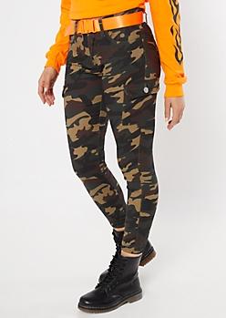 Camo Print Utility Belt Cargo Pants