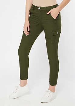 Olive Cargo Skinny Joggers