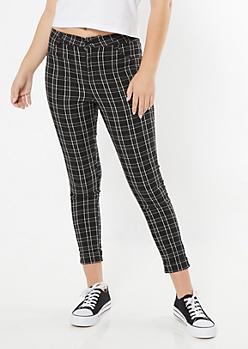 Black Plaid Print Elastic Waist Stretch Pants