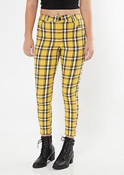 Yellow Plaid Print Elastic Waist Stretch Pants