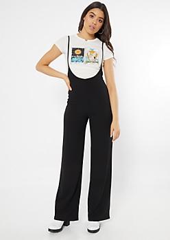 Black Sleeveless Pinafore Jumpsuit