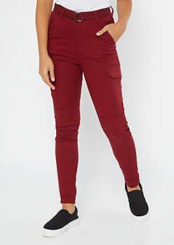 Burgundy High Waisted Skinny Cargo Pants