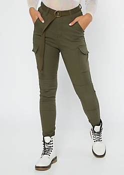 Olive High Waisted Skinny Cargo Pants