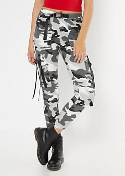 Gray Camo Print Nylon Tie Cargo Pants