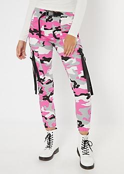 Pink Camo Print Nylon Tie Cargo Pants