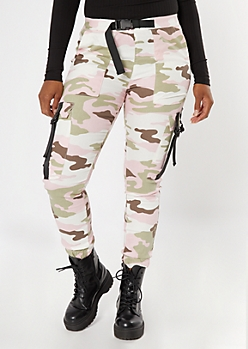 Pink Utility Belted Cargo Jogger Pants