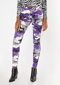 Purple Camo Print Booty Lifting Skinny Pants