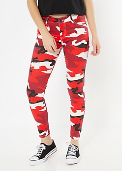 Red Camo Print Contrast Stitch Pants