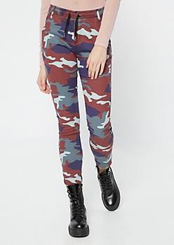 Navy Camo Print Twill Joggers