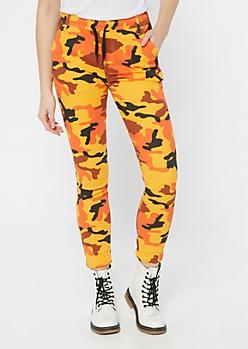 Orange Camo Print Twill Joggers