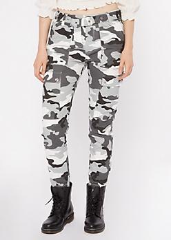 Gray Camo Print Grommet Belted Cargo Pants