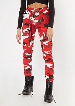 Red Camo Print Grommet Belted Cargo Pants