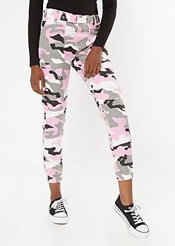 Pink Camo Print Grommet Belted Cargo Pants