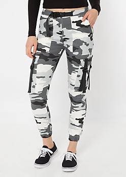 Gray Camo Print Utility Belt Cargo Pants
