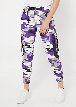 Purple Camo Print Utility Belt Cargo Pants