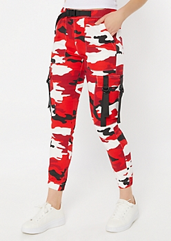 Red Camo Print Utility Belt Cargo Pants