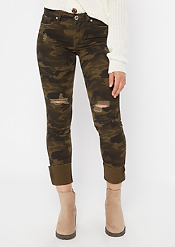 Camo Print Torn Mid Rise Skinny Jeans