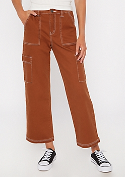 Burnt Orange Wide Leg Cargo Pants
