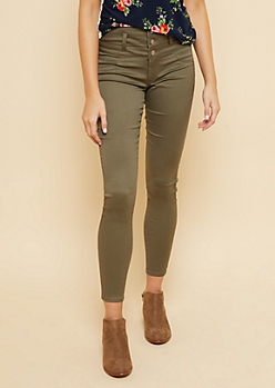 Olive High Waisted Triple Button Skinny Pants