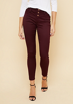 Burgundy High Waisted Triple Button Skinny Pants