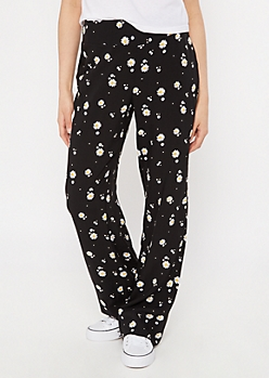 Black Daisy Print Flare Pants