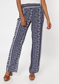 Blue Border Print Flare Pants