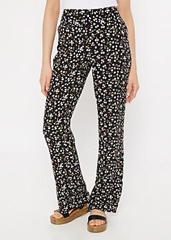 Black Ditsy Floral Print Flare Pants