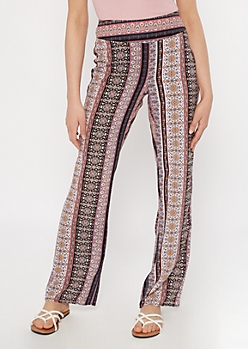 Purple Border Print Flare Pants