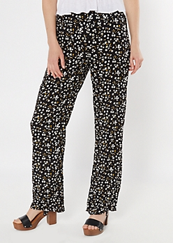 Black Ditsy Floral Print Flare Pants