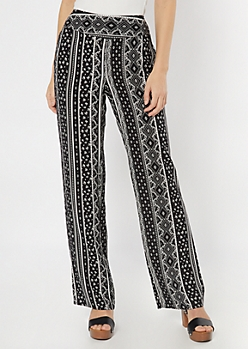 Black Border Print Flare Pants