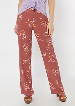 Dark Coral Floral Print Flare Pants