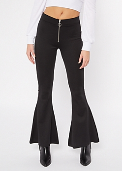Black O Ring Ponte Flare Pants