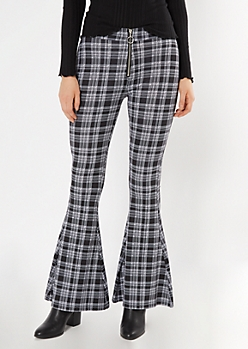 Black Plaid O Ring Ponte Flare Pants