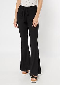 Black Ribbed Knit Sash Waist Flare Pants