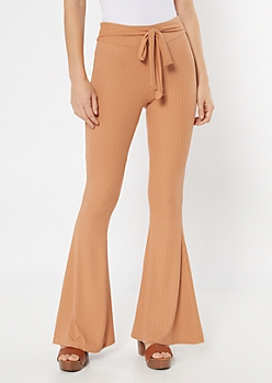 Tan Ribbed Knit Sash Waist Flare Pants
