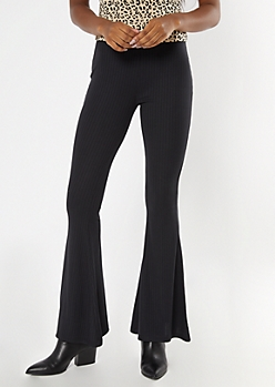 Black Ribbed Knit Flare Pants
