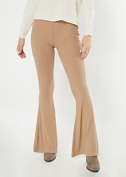 Taupe Super Soft Ribbed Knit Flare Pants