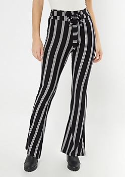 Black Striped Waist Sash Super Soft Flare Pants