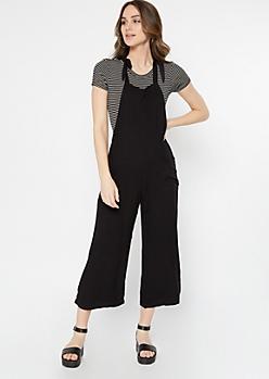 Black Tied Strap Front Pocket Overalls