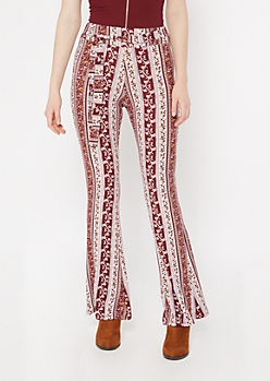 Burgundy Floral Border Print Waist Sash Super Soft Flare Pants