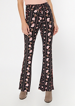 Black Paisley Striped Waist Sash Super Soft Flare Pants
