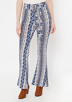 Blue Floral Border Print Waist Sash Super Soft Flare Pants