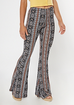 Black Border Print Super Soft Flare Pants