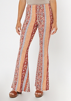 Peach Border Print Super Soft Flare Pants