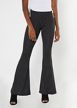 Black Striped Knit Flare Pants