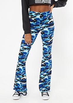 Blue Camo Print Super Soft Flare Pants