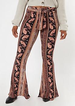 Black Border Stripe Print Super Soft Flare Pants
