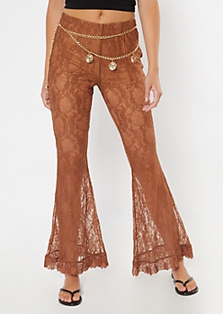 Tan Lace Flare Pants